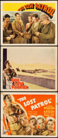 "Movie Posters:War, The Lost Patrol (RKO, 1934 and R-1942). Title Lobby Card and LobbyCards (2) (11"" X 14"").. ... (Total: 3 Items)"