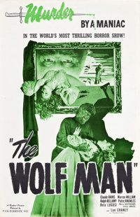 """The Wolf Man (Realart, R-1948). Uncut Pressbook (4 Pages, 11"""" X 17"""")"""