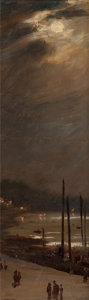 Fine Art - Painting, American:Antique  (Pre 1900), ELIHU VEDDER (American, 1836-1923). Night Scene by theWater. Oil on canvas laid on Masonite. 11-1/2 x 3-3/4 inches(29....