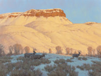 SCOTT YEAGER (American, b. 1965) Mule Deer on Winter Range Oil on canvas 30 x 40 inches (76.2 x 1