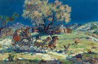 MARJORIE JANE REED (American, 1915-1996) Leaving Warner's Ranch by Moonlight Oil on canvas 24 x 3