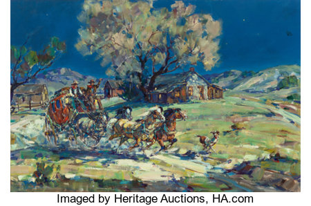 MARJORIE JANE REED (American, 1915-1996)Leaving Warner's Ranch by MoonlightOil on canvas24 x 36 inches (61.0 x 91....