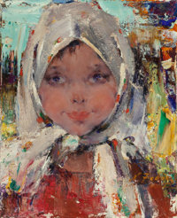 NICOLAI FECHIN (Russian/American, 1881-1955) Peasant Girl Oil on canvas 16 x 13 inches (40.6 x 33