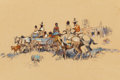 Paintings, LAVERNE NELSON BLACK (American, 1887-1938). Indian Riders and Wagon. Oil and pencil on board. 12 x 16-1/2 inches (30.5 x...