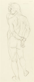 Fine Art - Work on Paper:Drawing, PAUL CADMUS (American, 1904-1999). Jon Mirrored, Study forArtist and Model, 1973. Pencil on paper. 22 x 9-1/2 inches(5...