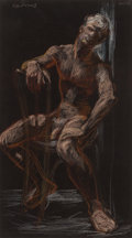 Fine Art - Work on Paper:Drawing, PAUL CADMUS (American, 1904-1999). Male Nude, circa 1969.Chalk on black paper. 16-1/2 x 9-1/4 inches (41.9 x 23.5 cm) (...