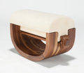 Furniture, XUE WENJING (Chinese, 20th century). Ottoman (from the Wood Series), 2012. Walnut and velvet upholstery. 15-1/2 x 25...