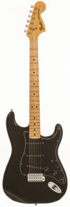 Musical Instruments:Electric Guitars, 1975 Fender Stratocaster Black Solid Body Electric Guitar, Serial #558441....