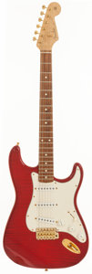 Musical Instruments:Electric Guitars, 1992 Fender Custom Shop Stratocaster Trans Red Solid Body ElectricGuitar, Serial # 51 of 100....