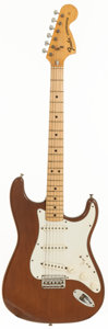 Musical Instruments:Electric Guitars, 1973 Fender Stratocaster Mocha Solid Body Electric Guitar, Serial #417158....