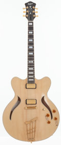 Musical Instruments:Electric Guitars, 2000's Hofner Verythin Classic Natural Semi-Hollow Body ElectricGuitar, Serial # C10119....