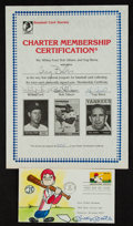 Baseball Collectibles:Others, Baseball Greats Multi Signed Certificate and Mickey Mantle SignedFirst Day Cover....