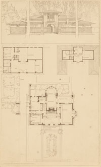 FRANK LLOYD WRIGHT (American, 1867-1959) Perspectives of the Winslow House, River Forest, Illinois (two