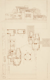 FRANK LLOYD WRIGHT (American, 1867-1959) Home of Mrs. Emma Martin, Oak Park, Illinois, 1907 Lithogra