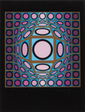 Prints, VICTOR VASARELY (French, 1906-1997). Untitled. Screenprint in colors on black paper. 12-1/2 x 9-3/4 inches (31.8 x 24.8 ...