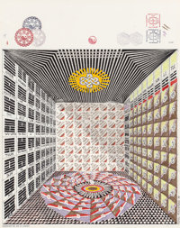 PEDRO FRIEDEBERG (Mexican, b. 1937) Gabinete de I Ching, 1999 Watercolor and ink on board 18-1/2