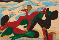 LE CORBUSIER (Swiss, 1887-1965) Untitled, 1937 Washed pastel on paper laid on board 8-1/4 x 12-1/