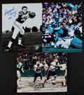 Football Collectibles:Photos, Mel Renfro, Raymond Berry and O.J. Simpson Signed Photographs (3)....