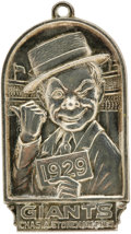 Baseball Collectibles:Others, 1929 New York Giants Silver Season Pass. A winking clown directsthe owner of this pass toward the Polo Grounds grandstands...