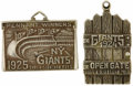 Baseball Collectibles:Others, 1924 & 1925 New York Giants Silver Season Passes Issued toGeorge Kelly. From the estate of the Giants' Hall of Fame first ...