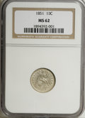 Seated Dimes: , 1851 10C MS62 NGC. NGC Census: (6/22). PCGS Population (4/18).Mintage: 1,026,500. Numismedia Wsl. Price for NGC/PCGS coin ...