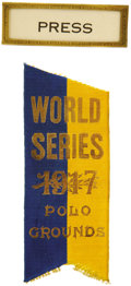 Baseball Collectibles:Others, 1917 World Series Press Pin (New York Giants). John McGraw's NewYork Giants battle a powerhouse Chicago opponent which incl...