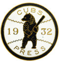 Baseball Collectibles:Others, 1932 World Series Press Pin (Chicago Cubs). Often found with oxidized plating and a white enamel field with porosity issues...