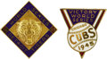 Baseball Collectibles:Others, 1945 World Series Press Pins (Detroit Tigers & Chicago Cubs).War veterans from both teams returned home to engage in frien...