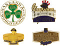 Baseball Collectibles:Others, 1971-78 World Series Press Pins Lot of 4. Disco-era baubles rateamong the finest you'll see from the world of baseball jou...