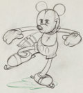 Animation Art:Production Drawing, On Ice Mickey Mouse Animation Drawing (Walt Disney,1935)....