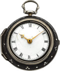 Timepieces:Pocket (pre 1900) , Minchener London Rare Miniature Fusee With Pinned Shagreen Case,circa 1800. ...
