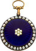 Timepieces:Pocket (pre 1900) , Dupetite Dunkerque Lady's Gold, Enamel & Pearl Verge Fusee,circa 1825. ...