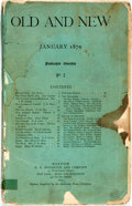 Books:Periodicals, [Harriet Beecher Stowe]. January, 1870 Issue of Old and NewMagazine. No. I. Boston: H.O. Houghton and Company, ...