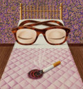 Pulp, Pulp-like, Digests, and Paperback Art, GERVASIO GALLARDO (American, b. 1934). Glasses in Bed, Insomniaillustration. Gouache and colored pencil on board. 16.87...