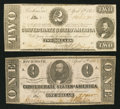 Confederate Notes:1863 Issues, T61 $2 1863 PF-6 Cr. 471. T62 $1 1863 PF-1 Cr. 474.. ... (Total: 2notes)