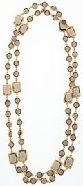 "Luxury Accessories:Accessories, Chanel Gray Crystal & Gold Sautoir Necklace. ExcellentCondition . 28"" Length . ..."