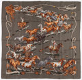 "Luxury Accessories:Accessories, Hermes 90cm Green & Brown ""Les Mustangs,"" by Robert Dallet SilkScarf . Very Good to Excellent Condition . 36"" Widthx..."