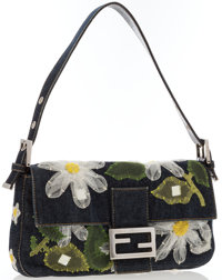 "Fendi Embodied Floral Denim Baguette Bag Very Good Condition 10"" Width x 6"" Height x 1.5"" Depth"