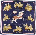 "Luxury Accessories:Accessories, Hermes 90 cm Blue & Gold""Carrousel"" by Christiane VauzellesSilk Scarf. ..."