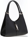 """Luxury Accessories:Bags, Gucci Black Pork Leather Jackie Bag with Sterling Silver Hardware.Good Condition. 12"""" Width x 6"""" Height x 4.5""""Depth,..."""