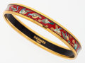 "Luxury Accessories:Accessories, Hermes 65mm Red, Blue, & Green Enamel Bangle Bracelet with GoldHardware. Very Good to Excellent Condition . .25""Widt..."
