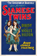 "Movie Posters:Exploitation, Hilton Sisters - Siamese Twins (Quigley Publications, 1925). OneSheet (28"" X 42"").. ..."