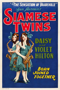 "Hilton Sisters - Siamese Twins (Quigley Publications, 1925). One Sheet (28"" X 42"")"