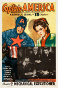 "Movie Posters:Serial, Captain America (Republic, 1944). One Sheet (27"" X 41"") Chapter 2-- ""Mechanical Executioner."". ..."