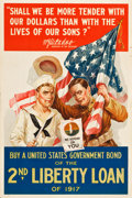 "Movie Posters:War, World War I Propaganda (U.S. Government Printing Office, 1917 ).2nd Liberty Loan Poster (20"" X 30"") ""We Depend on You."" War..."