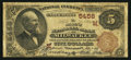 National Bank Notes:Wisconsin, Milwaukee, WI - $5 1882 Brown Back Fr. 477 The Marine NB Ch. # (M)5458. ...