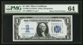 Small Size:Silver Certificates, Low/Binary Serial Number A00000111A Fr. 1606 $1 1934 Silver Certificate. PMG Choice Uncirculated 64.. ...