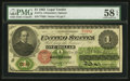 Large Size:Legal Tender Notes, Fr. 17a $1 1862 Legal Tender PMG Choice About Unc 58 EPQ.. ...