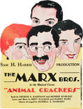 """Movie Posters:Comedy, Animal Crackers (44th Street Theatre, 1928). Die Cut TheatreHandout (4.5"""" X 6"""" Folded, 6"""" X 18"""" Unfolded).. ..."""