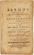 Books:Religion & Theology, Cumming, Alexander: A SERMON PREACHED FEB.25. 1761...AT HIS INSTALMENT IN THE PASTORAL CHARGE OF THE SOUTH CHURCH, IN BOSTON...